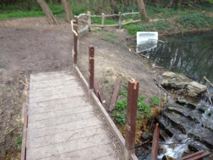 First weir bridge vandalised April 2016