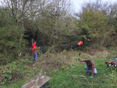 Volunteers clearing edge of brook 2017 earlier in day