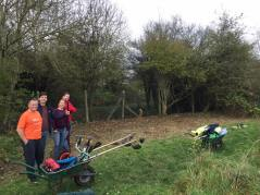Volunteers clearing edge of brook 2017